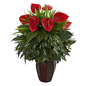 Nearly Natural 8170-GR Mixed Anthurium Artificial Decorative Planter Silk Plants Green 23