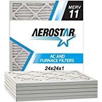 Aerostar Pleated Air Filter, MERV 11, 24x24x1, Pack of 6, Made in the USA