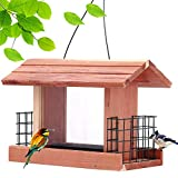Homes Garden USA Cedar Bird Feeder Wildbird Essentials Handmade Wooden Outdoor Patio Garden Yard Tree Hanging with Double Plastic Window and Double Suet Holder Cages Combination #G-8534