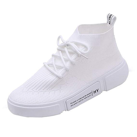 Zapatillas Running Hombre Mujer,JiaMeng Zapatillas de Deporte de Malla con Cordones Redondos y con Cordones Zapatillas para Correr Calzados Informales: ...