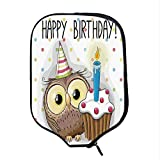 YOLIYANA Birthday Decorations for Kids Durable Racket Cover,Baby Owl Party Cupcake Cake on Colorful Polka Dots Backdrop for Sandbeach,One Size