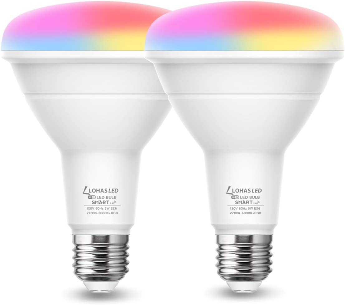 LOHAS Smart Light Bulb, BR30 LED Color Changing Bulbs, RGB Daylight Warm White 2700K-6000K Smart WiFi Lights, E26 LED Flood Light, 9W(65W Equivalent) 900LM Alexa Google Home Compatible Lights, 2 Pack