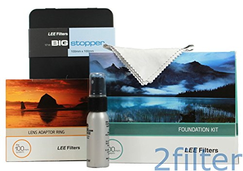 Lee Filters 77mm Big Stopper Kit - Lee Filters 4x4 Big Stopper (10-stop ND Filter), Lee Filters Foundation Kit and 77mm Wide Angle Ring with 2filter cleaning kit (Lee Big Stopper Nd Filter Kit compare prices)
