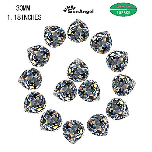 SunAngel 30mm Crystal Ball Prism Suncatcher Rainbow Pendants Maker, Hanging Crystals Prisms for Windows,for Feng Shui,for Home,Office,Garden Decoration (30MM Prism Balls-15Pack) (Pendant Maker)
