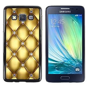 ZONECELL Negro Borde Trasera Funda Imagen Carcasa Diseño Tapa Cover Skin Case para Samsung Galaxy A3 SM-A300 - cuero del diseño del oro del diamante de Bling del brillo