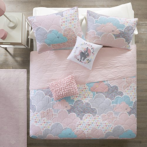Little Flowers 5 (Urban Habitat Kids Cloud Full/Queen Bedding For Girls Quilt Set - Pink, Geometric, Unicorn – 5 Piece Kids Girls Quilts – 100% Cotton Quilt Sets Coverlet)