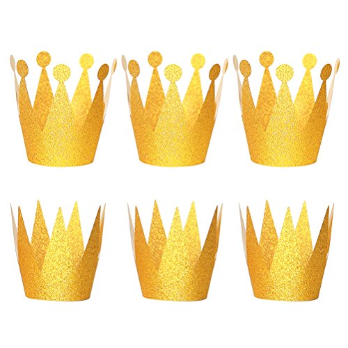 NUOLUX Birthday Crown Hats Party Hats Princess Prince Crowns for Kids,6PCS -