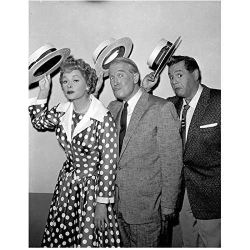 Lucille Ball and Desi Arnaz with Friend Holding Hats Up Making Faces 8 x 10 -