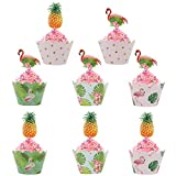 Tropical Hawaii Flamingo Pineapple cupcake toppers and Wrappers Hawaii Luau Party Supplies Set of 24