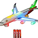 Toys : Toysery Airplane Airbus Toy With Beautiful Attractive Flashing Lights and Realistic Jet Engine Sounds , Bump and Go Action Battery Included (Colors May Vary)