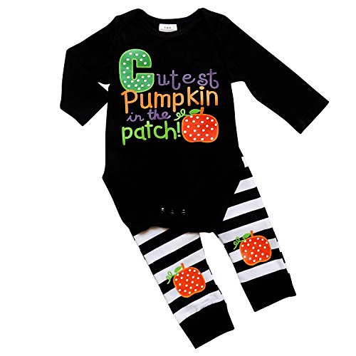 So Sydney Girls Halloween Pumpkin, Candy, or Cat - 2 Piece Ruffle Pants Outfit (L (12-18 Months), Cutest Pumpkin Baby) (Cutest Infant Girl Halloween Costumes)