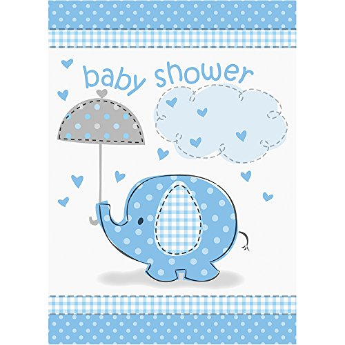 Umbrellaphants Blue Birthday Party Invitations (8 Count) by Unique Industries (Image #1)