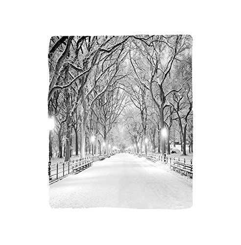VROSELV Custom Blanket Winter View of Central Park in Winter Snowy Trees and the Walkway Digital Print Soft Fleece Throw Blanket Black and White