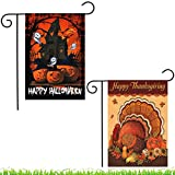 Shmbada 2Pcs Happy Halloween Thanksgiving Garden Flag, Double Sided Flag, Trick or Treat and Turkey Flag, Outdoor Lawn Yard Decor Flags, Gift for Children, 12 X 18 inch