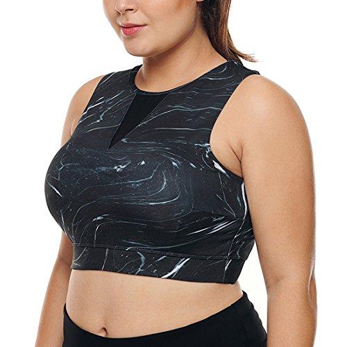 Dearlove Womens Racerback Sports Bras Pads Insert High Neck Medium Support Workout Gym Running Yoga Bra Top Activewear Black Plus Size 3X