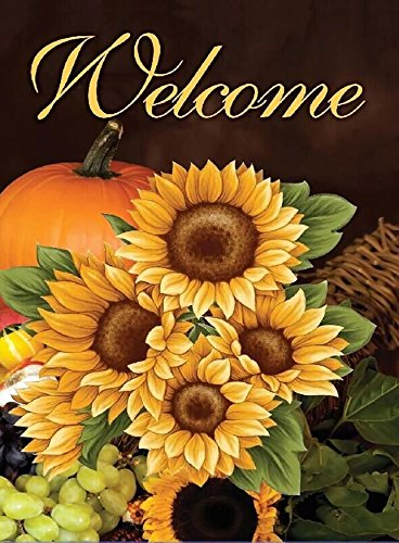 (ALAZA Home Decorative Outdoor Double Sided Welcome Sunflower Garden House Yard Flag Decor,Autumn Fall Flower Pumpkin Seasonal Welcome Flags 28 x 40 inch Spring Summer Gift)