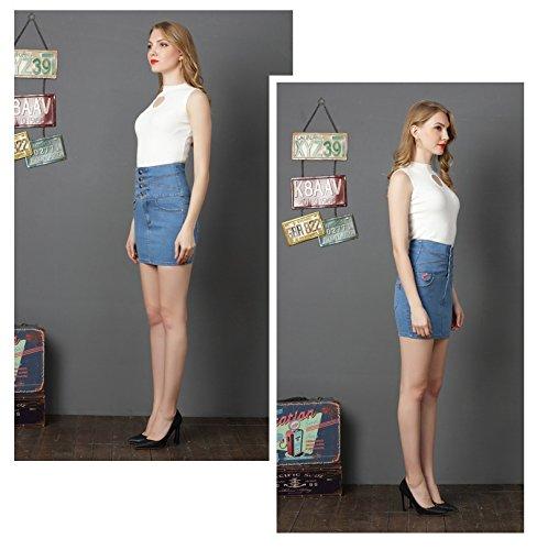 en Haute Jupes Stretch Bleu Jupe Taille Basiques Short Jupe Denim FuweiEncore Jupe Femme Crayon pour avec Broderie AY8nUB