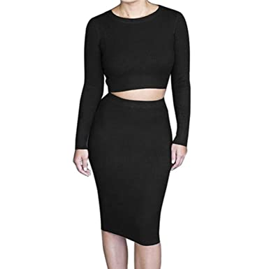 8174f4b119e6 Verypoppa Women Sexy 2 Pieces Knitted Long Sleeve Crop Top + Hip Package Skirt  Sets Outfits at Amazon Women's Clothing store: