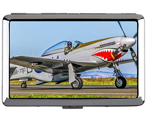 Silver Stainless Steel Cigarette Case,P 51 Mustang Fighter Professional Business Card Holder