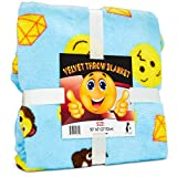 Emoji Bedding for Boys Koltose by Mash Emoji Throw Blanket, Super Soft Large Fluffy Lightweight Blue Emoticon Blanket for Boys and Girls, Toddlers Kids Teens and Young Adults (50in x 60in)