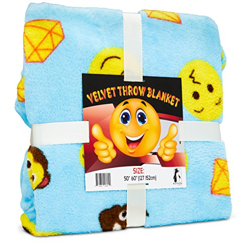 Koltose by Mash Emoji Throw Blanket, Super Soft Large Fluffy Lightweight Blue Emoticon Blanket for Boys and Girls, Toddlers Kids Teens and Young Adults (50in x 60in)