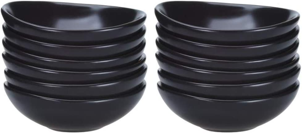 Ninepeak Ceramic Dip Bowls Set - Condiments Server Dishes for Sauce, Ketchup, BBQ, 2 oz, 12 Packs (Black)