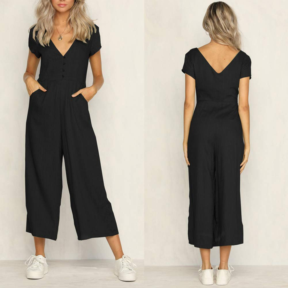 Gloa Ladies Women Summer Jumpsuit V-Neck Clubwear Wide Leg Pants with Buttons Chest and Pockets (Large, Black)