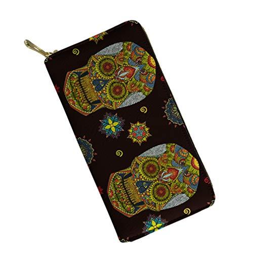 (Suger Skull Wallets Women Hippie Long Zip Ladies Boho Canvas Clutch Wallet Vintage Card)