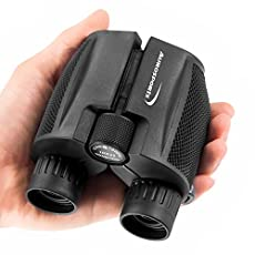 Aurosports 10x25 Folding High Powered Binoculars With Weak Light Night Vision Clear Bird Watching Great for Outdoor Sports Games and Concerts