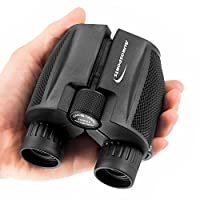 Aurosports 10×25 Folding High Powered Compact Binoculars for Adults Kids With Weak Light Night Vision Clear Binocular for Bird Watching Great for Outdoor Sports Games and Concerts