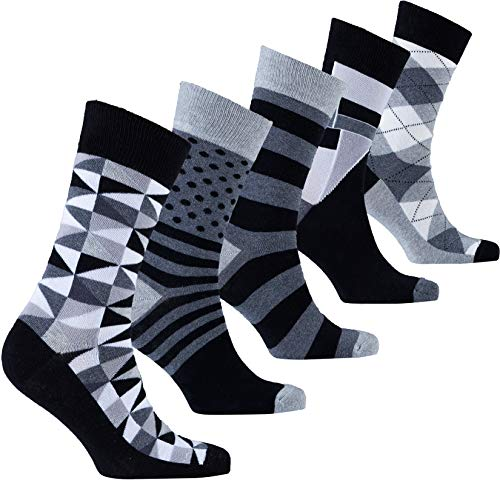(Socks n Socks-Men's 5-pair Luxury Fun Cool Cotton Colorful Mix Socks Gift Box)