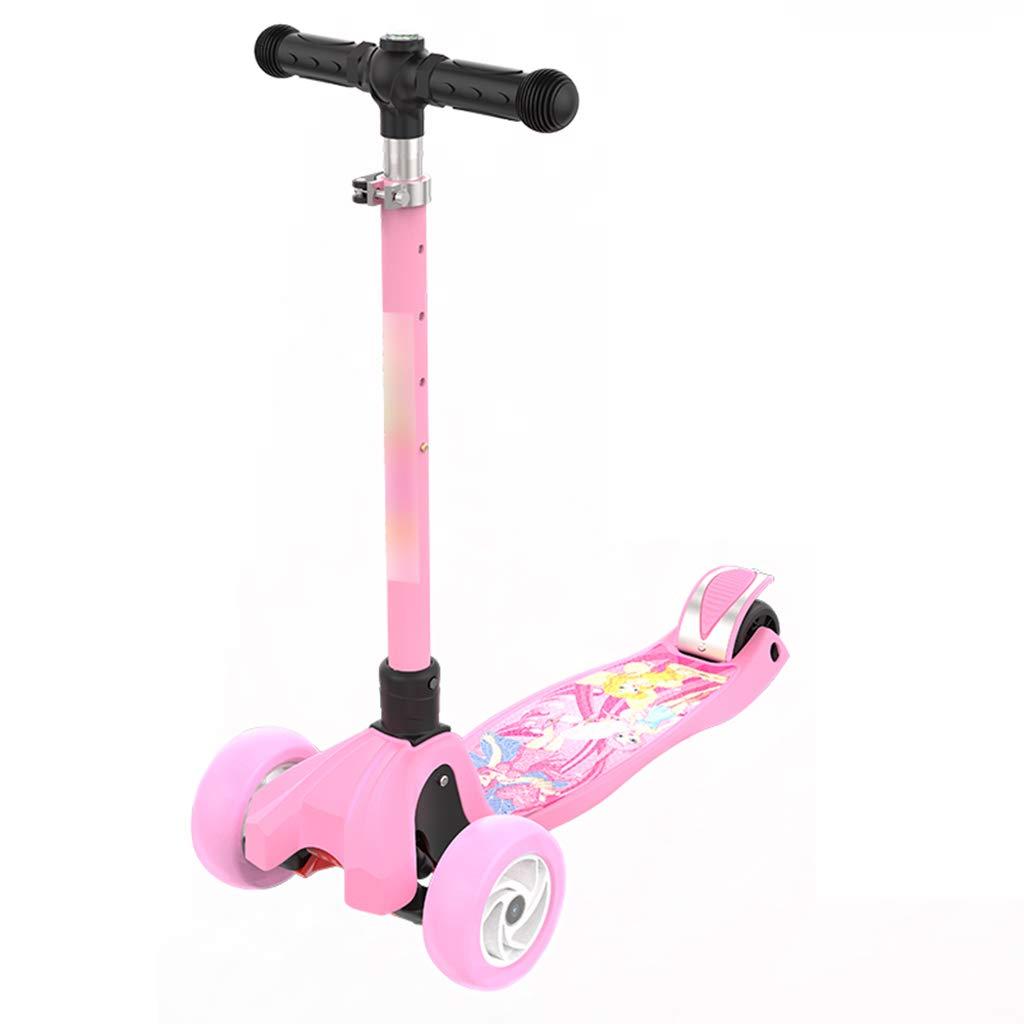スケートボード キックスクータースクーター子供の四輪フラッシュスクーター折りたたみシングルフットスクーター二歳から14歳の子供たちに適したマルチカラーオプション スケートボード (Color : ピンク) ピンク