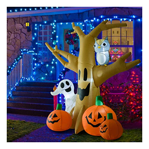 7.5' Decorative Outdoor Halloween Airblown Inflatable Creepy Haunted Tree -
