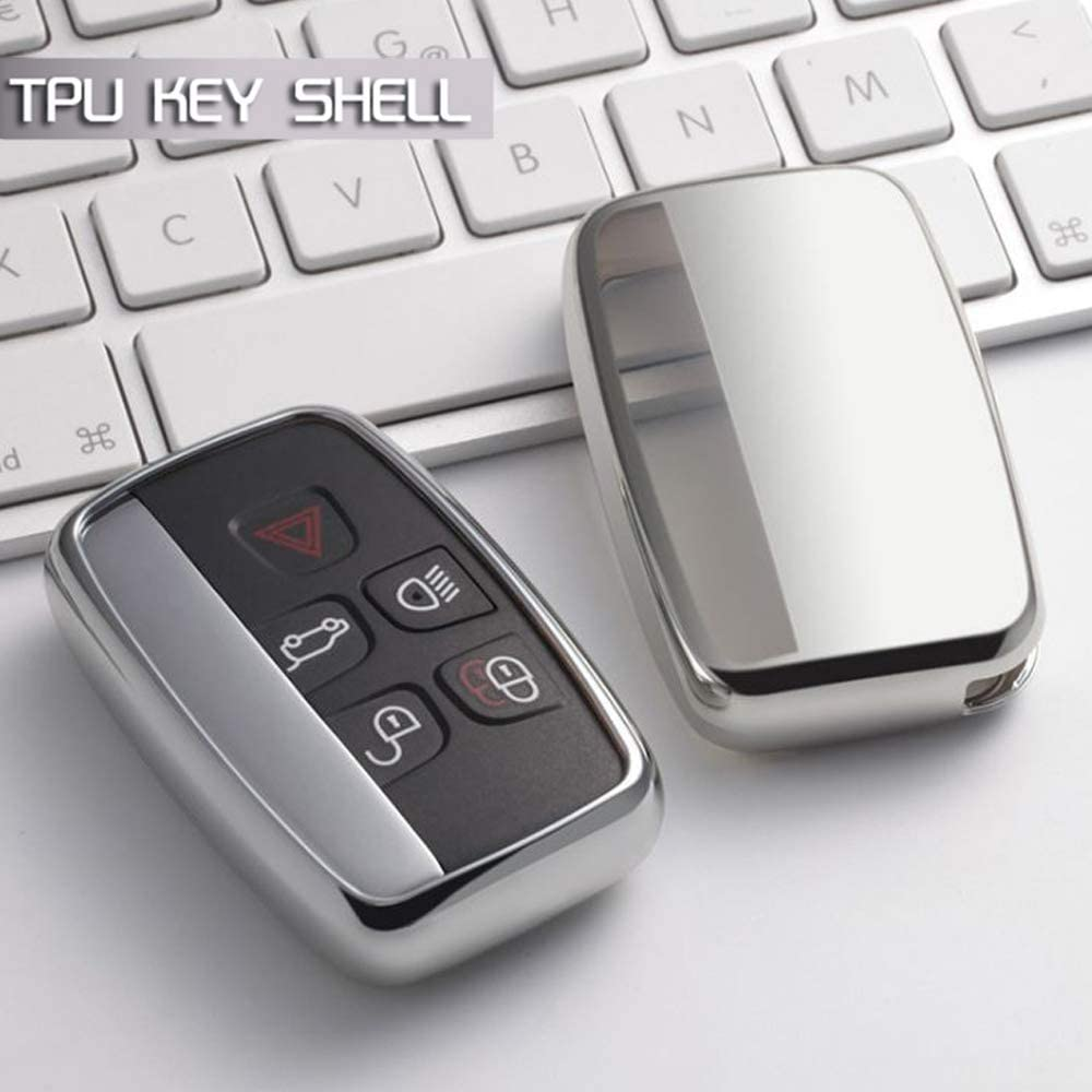 Silver Soft TPU Remote Smart Key Cover Fob Case Shell for Jaguar XE XF XJ XEL XFL F-Pace F-Type Land Rover Evoque Velar Sport Discovery LR4