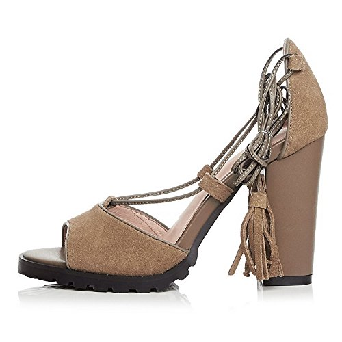 AmoonyFashion Womens Lace-up High-Heels Imitated Suede Solid Peep-Toe Sandals Khaki iC4vyEqlY