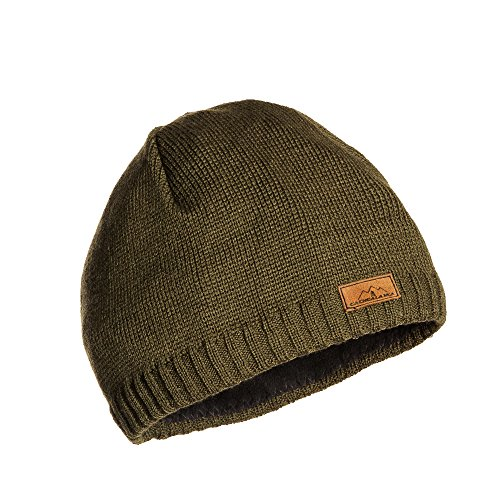 CacheAlaska Beanie Green Knit Ski Hat - Premium Wool Blend - Designed by Designed Beanie