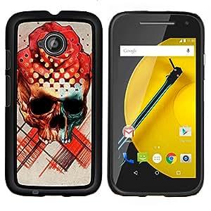 YiPhone /// Prima de resorte delgada de la cubierta del caso de Shell Armor - Rose Art Sombrero Negro Flor roja cráneo - Motorola Moto E2 E2nd Gen