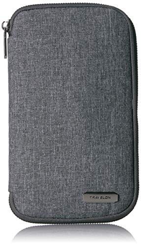 51GBtR7i0GL - Travelon RFID Blocking Family Passport Zip Wallet, Gray Heather