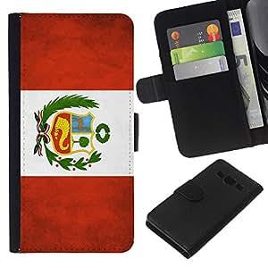 EJOY---La carpeta del tirón la caja de cuero de alta calidad de la PU Caso protector / Samsung Galaxy A3 / --Nacional bandera de la nación País Perú