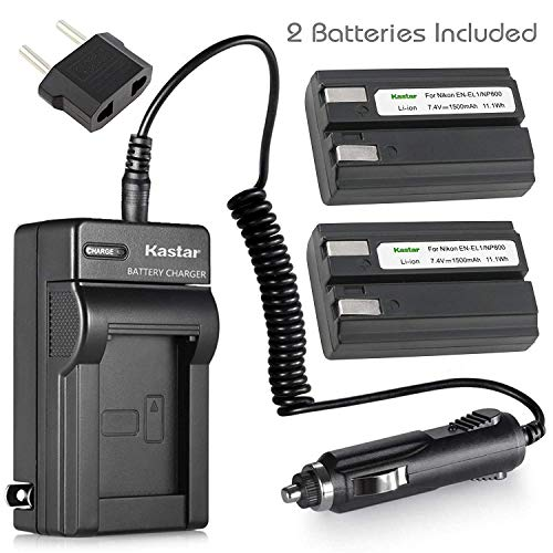 (Kastar 2 Pack Battery and Charger with Car Adapter for Nikon ENEL-1 EN-EL1 and Nikon Coolpix 775 880 885 995 Coolpix E880 Cooipix 4300 4500 4800 Coolpix 5000 5400 5700 8700, Konica Minolta NP-800)