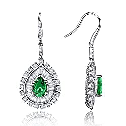 Diamond Emerald Drop Earrings