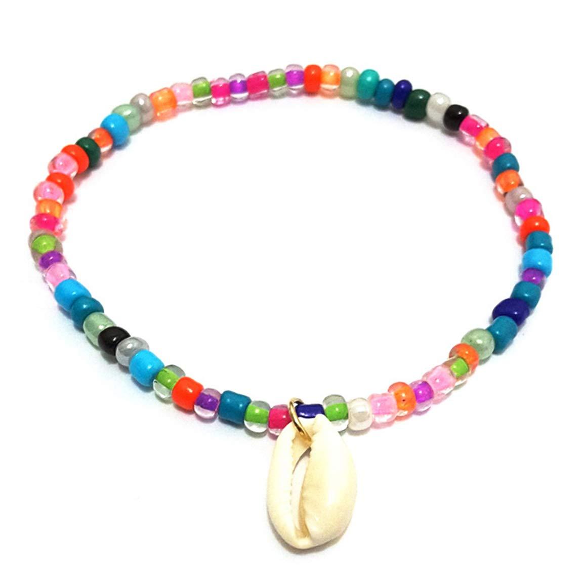 Weiy Boh/ème Style Ethnique color/é Perle /élastique Cheville avec Coque Pendnat Fahsion Vintage Charmant Yoga Plage Bracelet de Cheville Pied Bijoux pour Femmes Filles