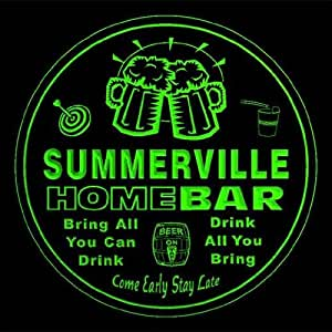 4x ccq43865-g SUMMERVILLE Family Name Home Bar Pub Beer Club Gift 3D Engraved Coasters