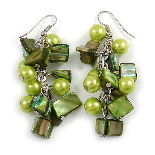 Salad Green Glass Bead, Forest Green Shell Nugget Cluster Dangle/Drop Earrings In Silver Tone - 60mm Long