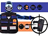 arm bullet - Precision Tactical Nerf Guns Vest for Boys - Kids Elite Vest and Accessories Kit | With Bullet Clip, Arm Clip, Leg Holster, Face Mask, Protective Glasses, 20 Standard and 10 Glow in the Dark Darts
