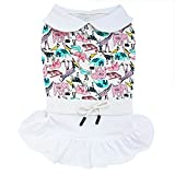 TONY HOBY Pet Dog Dress White Dog Skirt Crescent Collar with Cute Animals Pattern for Small Dogs