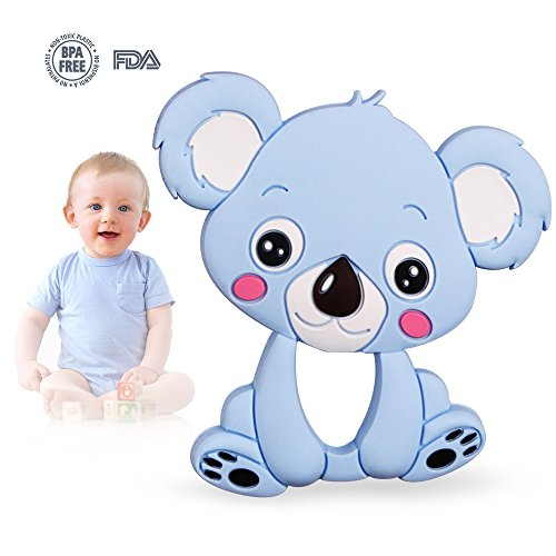 H&L Baby Teething Toys BPA Free Silicone,Freezer, Soft, Bendable, Koala Teether, Girl Or Boy Infant Newborn Toddler 3 5 6 7 8 12 Months 1 Year Old Gifts (Blue)