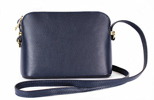 Shoulder Leather Italian Genuine Bag or Textured Triangular Hand Made Real Strap Navy Small Adjustable Crossbody 441vwH