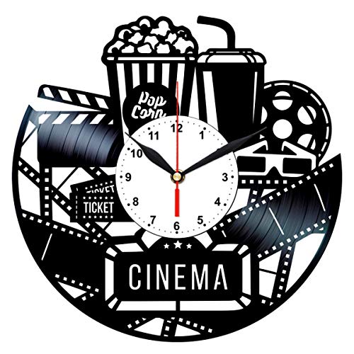 Cinema Clock - Vinyl Record Wall Art - Movie Room Decor - Film Gifts for Men ()