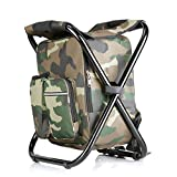 Folding Camping Stool & Backpack with Cooler Insulated...